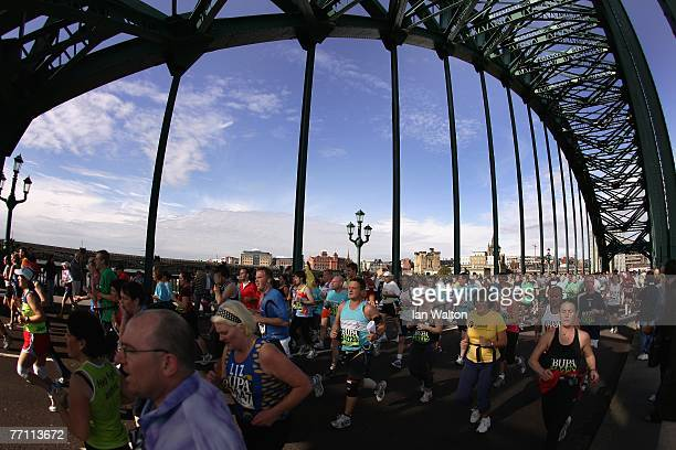 Runners cross the Tyne Bridge during the Bupa Great North Run at South Shields on September 30 2007 in Newcastle England