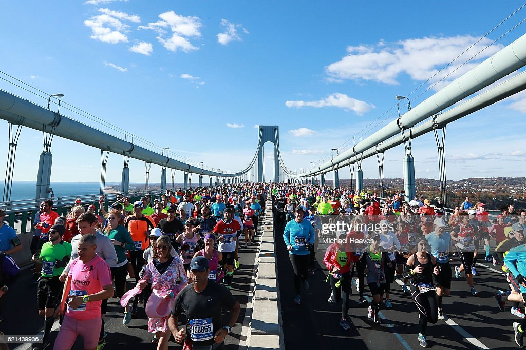 Runners cross the Verrazano-Narrows Bridge at the start of the 2016 TCS New York City Marathon on November 6, 2016 in the Brooklyn borough of New York City.