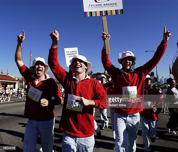 Runners dressed as Gilligan from the show Gilligan's Island participate in the 2003 Los Angeles Marathon to promote the TV Land Awards Show on March...