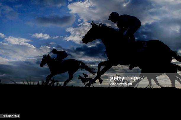 Runners ease down after finishing in The Godolphin Under Starters Orders Maiden Fillieâ Stakes at Newmarket racecourse on October 13 2017 in...