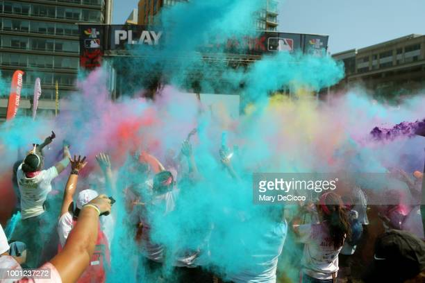 Runners enjoy the color during the Color Run MLB AllStar 5K Presented by Nike at Play Ball Park at the Yards Park on Saturday July 14 2018 in...