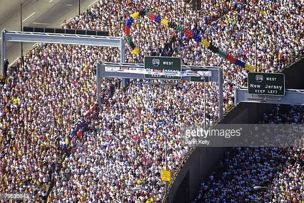 Runners filter through the start of the New York Marathon in 1991