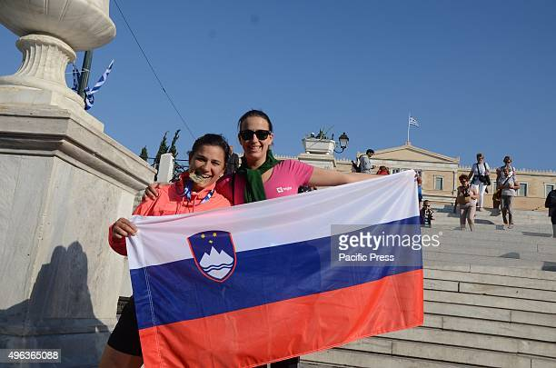 Runners from Moldavia pose in Syntagma square. SEGAS organised in Athens the 33rd Athens Marathon. There were 43 runners took part the event.