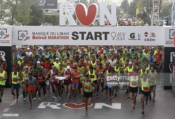 Runners from the world attend to Beirut Marathon in Beirut Lebanon on November 9 2014