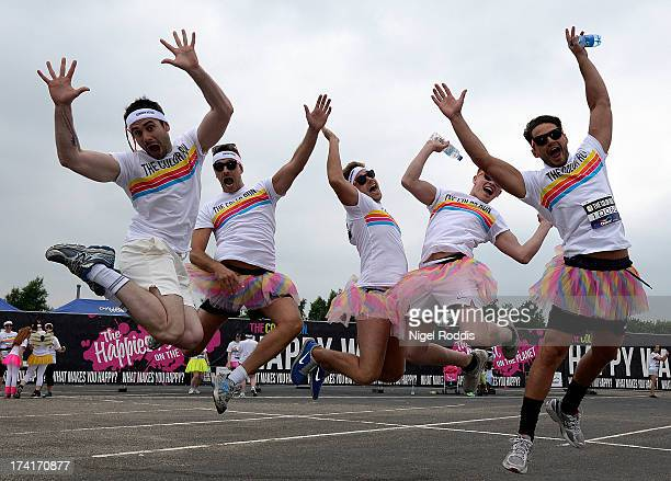Runners from TVs Hollyoaks programme prepare to take part in The Color Run presented by Dulux known as the happiest 5km on the planet on July 21 2013...
