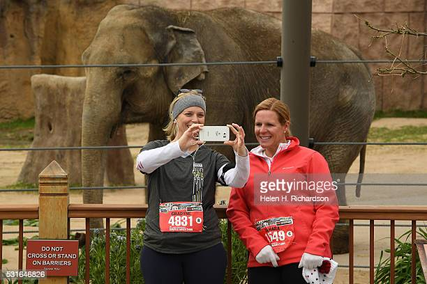 Runners Gradyne Dearborn left and Tamara Vugrin right stop for a selfie in front of an elephant as they make their way through the Denver Zoo which...