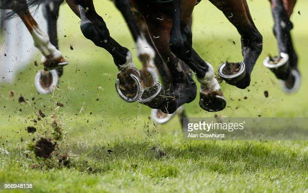 Runners hooves at Chester Racecourse on May 10 2018 in Chester United Kingdom