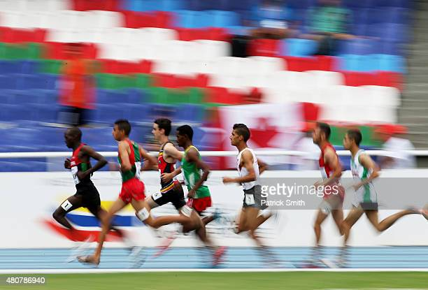 Runners in action during round one of the Boys 1500 Meter on day one of the IAAF World Youth Championships Cali 2015 on July 15 2015 at the Pascual...