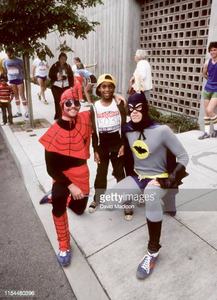 Runners in the annual Bay to Breakers race pose for a photo before the start of the race on May 14, 1978 in San Francisco, California.