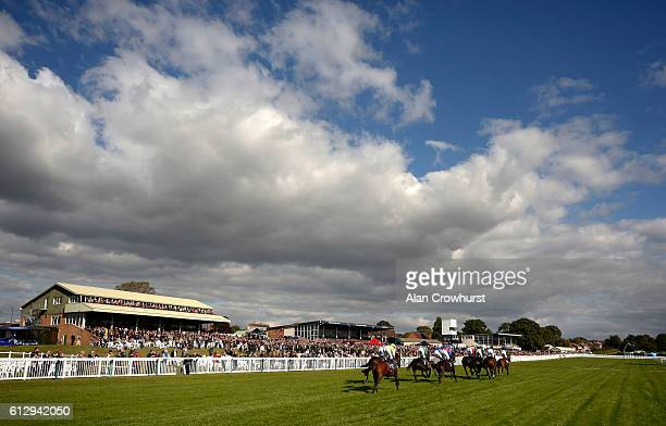 Runners in The bet365/British Stallion Studs EBF 'National Hunt' Novices' Hurdle Race pass the packed grandstands at Hereford racecourse on October 6...