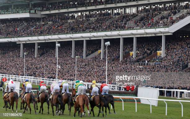 Runners in the first race pass the packed stands during day four of the Cheltenham National Hunt Racing Festival at Cheltenham Racecourse on March...