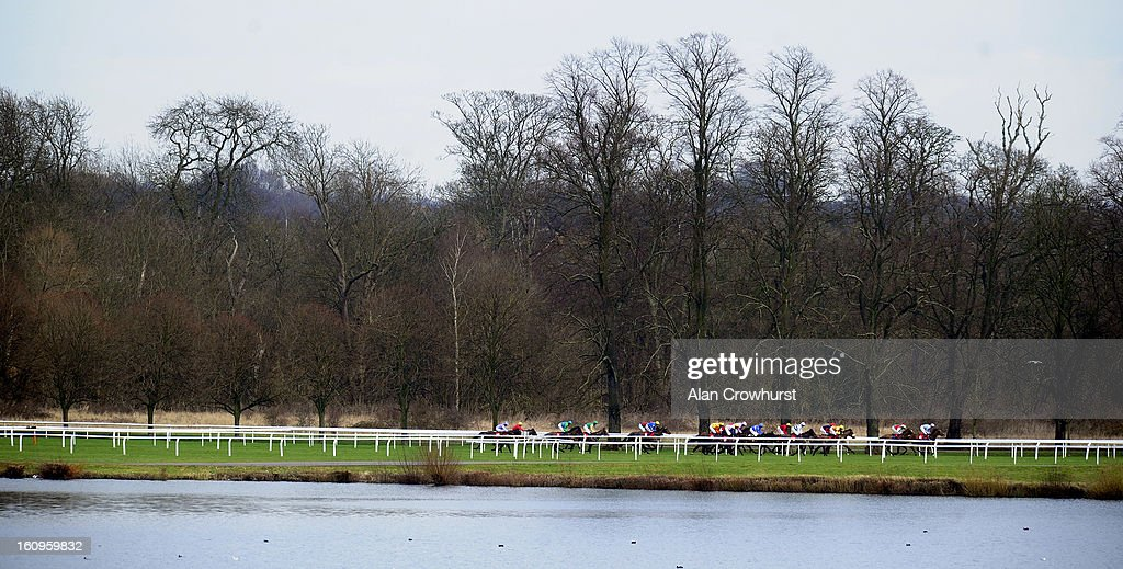 Runners in The TurfTV Novices' Hurdle Race make their way down the side of the track at Kempton racecourse on February 08, 2013 in Sunbury, England.