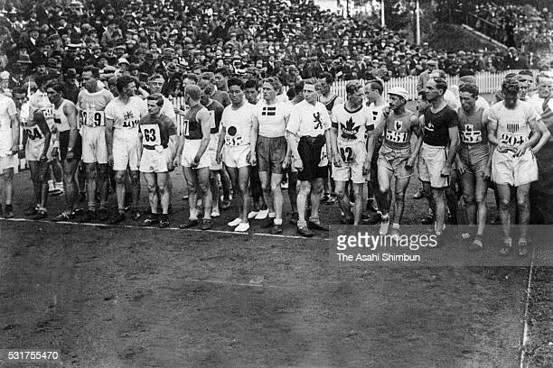 Runners including Shiso Kanaguri of Japan line up before start of the Marathon during the Antweerp Summer Olympic Games on August 22 1920 in Antwerp...