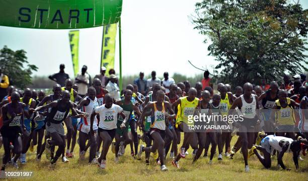 Runners jostle for position at the start of the Senior Men's 12 kilometre race on February 19 2011 won by twotime winner of Eindhoven marathon...