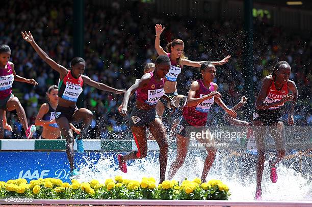 Runners jump the water pit during the 3000m Steeplechase during day 2 of the IAAF Diamond League Nike Prefontaine Classic on May 31 2014 at the...