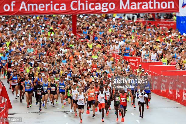 Runners kick off the 2018 Bank of America Chicago Marathon on October 7 2018 in Chicago Illinois Mo Farah of Great Britain won in 20511