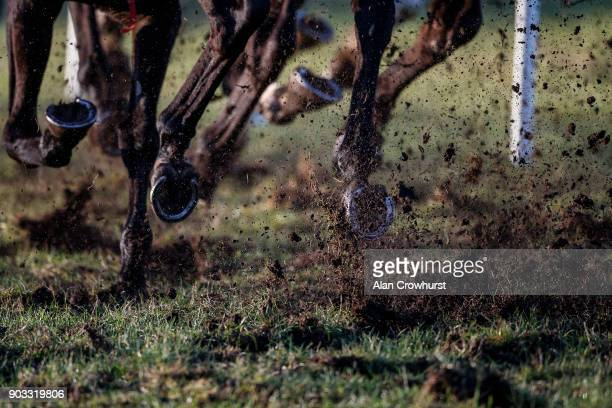 Runners kicking up plenty of mud on the easy ground at Ludlow racecourse on January 10 2018 in Ludlow England