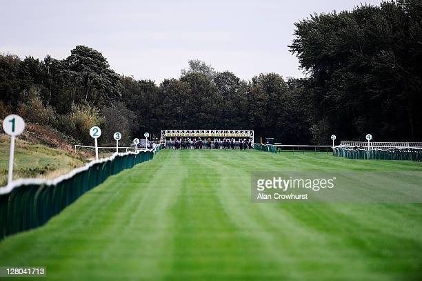 Runners leave the stalls from the six furlong start at Nottingham racecourse on October 05 2011 in Nottingham England