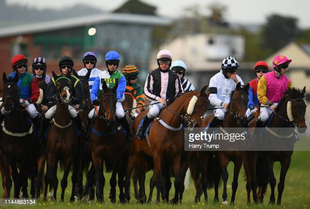 Runners line up prior to the C&S Electrical Wholesale/Ansell Lighting Mares Handicap Hurdle at Taunton Racecourse on April 24, 2019 in Taunton,...