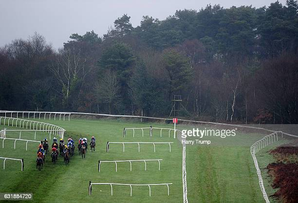 Runners make their way around the course at Exeter Racecourse on January 17 2017 in Exeter England