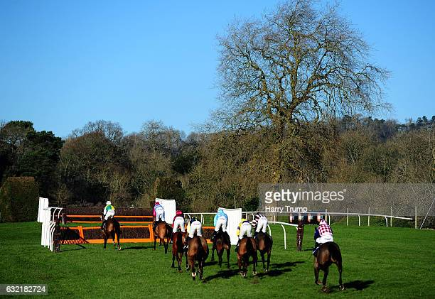 Runners make their way around the course during the Australian Open Tennis at 188Bet National Hunt Novices Hurdle at Chepstow Racecourse on January...