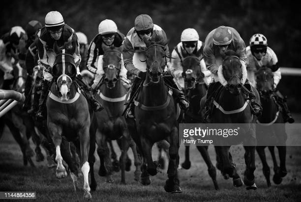 Runners make their way around the course during the C&S Electrical Wholesale/Ansell Lighting Mares Handicap Hurdle at Taunton Racecourse on April 24,...