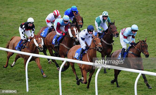 Runners make their way around the course during the Higos For Your Commercial Insurance Novices Selling Hurdle at Exeter Racecourse on March 22 2016...