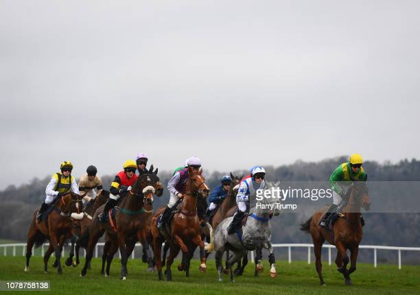 Runners make their way around the course during the interbet.com 200 Casino Welcome Bonus Mares Handicap Hurdle Race at Chepstow Racecourse on...