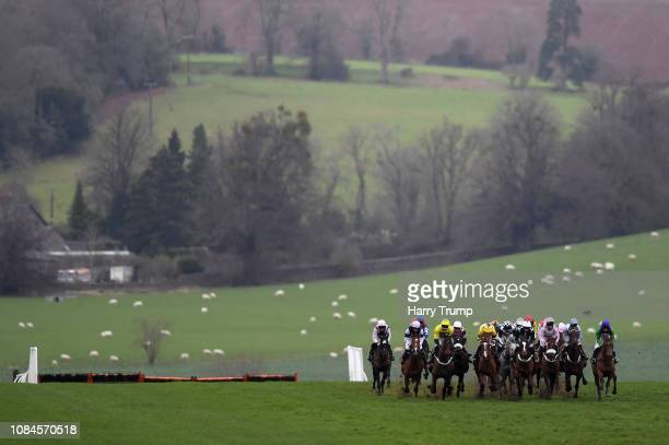Runners make their way around the course during the join the Coral Champions Club for free Maiden Hurdle Race at Chepstow Racecourse on January 18,...