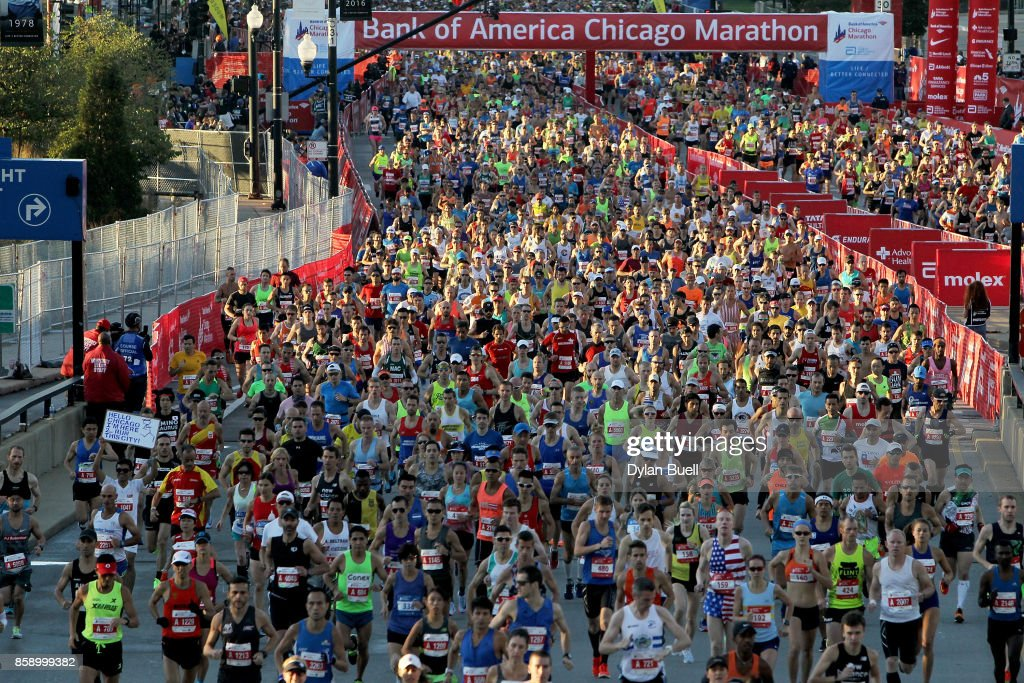 Runners make their way down Columbus Drive during the Bank of America Chicago Marathon on October 8, 2017 in Chicago, Illinois.
