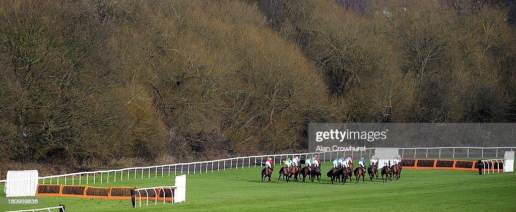 Runners make their way down the back straight in The TurfTV Novices' Hurdle Race at Kempton racecourse on February 08, 2013 in Sunbury, England.
