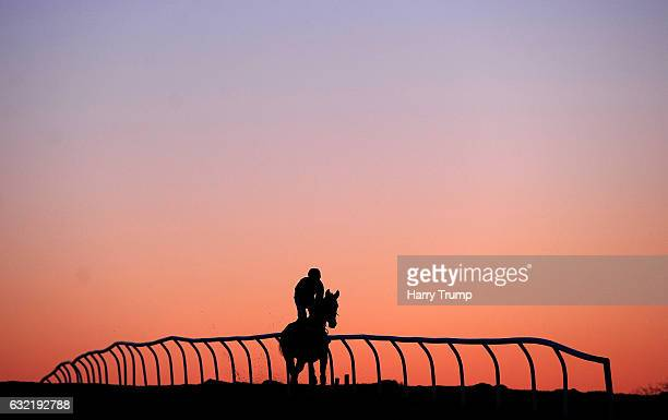 Runners make their way down to the start for the Bet 10 Get 30 at 188Bet Handicap Chase at Chepstow Racecourse on January 20, 2017 in Chepstow, Wales.