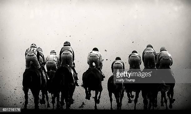 Runners make their way into the fog at Chepstow Racecourse on January 8 2017 in Chepstow Wales
