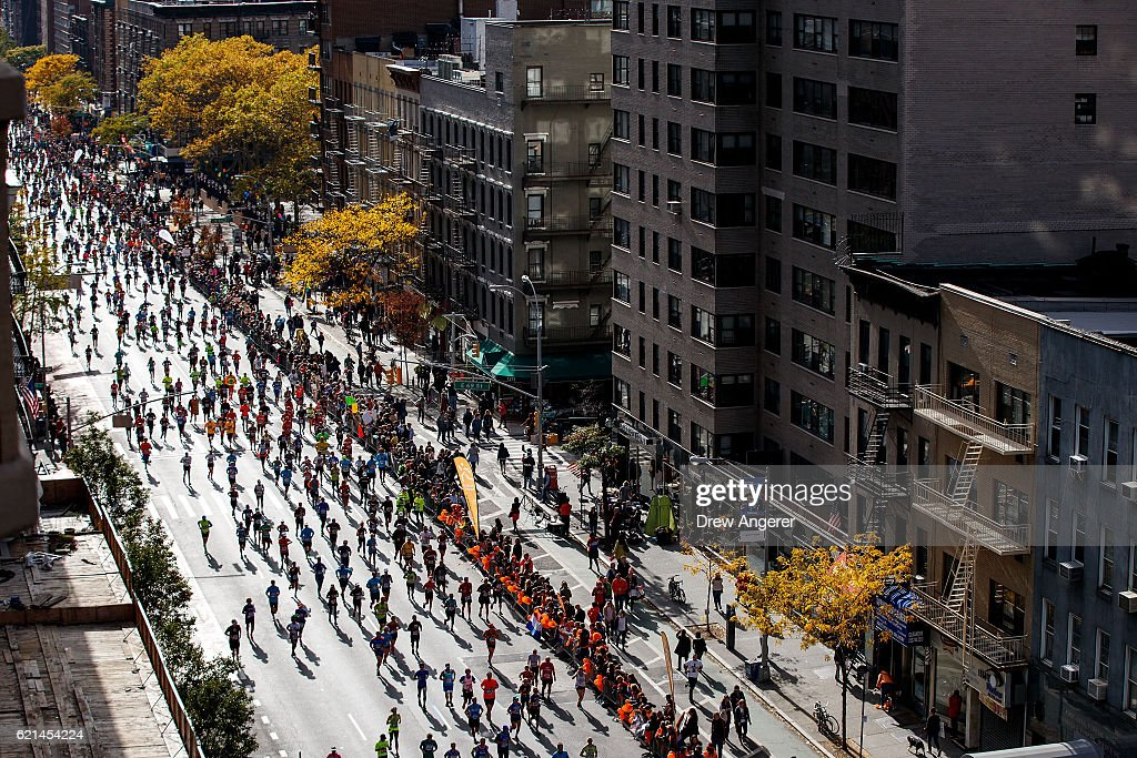 Runners make their way north on First Avenue during the 2016 TCS New York City Marathon, November 6, 2016 in New York City. Established in 1970, the annual race winds through all of New York City's five boroughs.