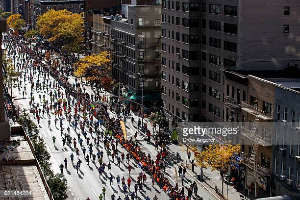 Runners make their way north on First Avenue during the 2016 TCS New York City Marathon November 6 2016 in New York City Established in 1970 the...