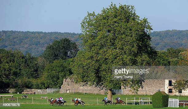 Runners make their way through the course at Chepstow Racecourse on September 30 2015 in Chepstow Wales
