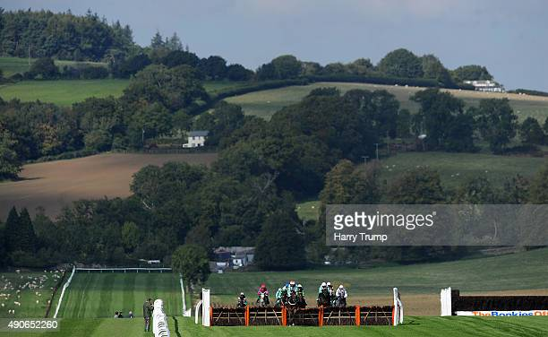 Runners make their way through the course during the Longcroft building services supports Paul's place maiden hurdle race at Chepstow Racecourse on...