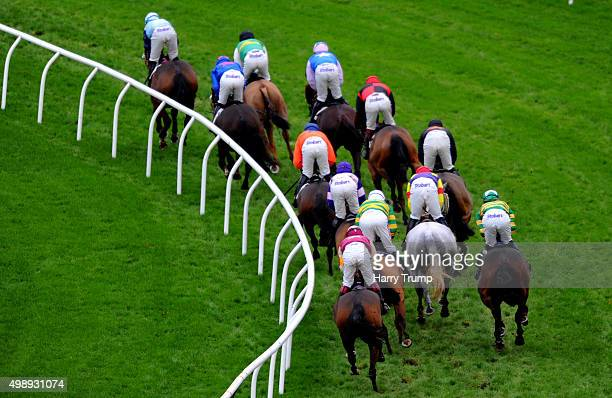 Runners make their way through the course during the The Pertemps Network Handicap Hurdle Race at Newbury Racecourse on November 27 2015 in Newbury...