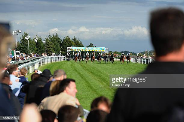Runners make their way to the finish during the Arc Syndicates Handicap at Bath Racecourse on September 13 2015 in Bath England