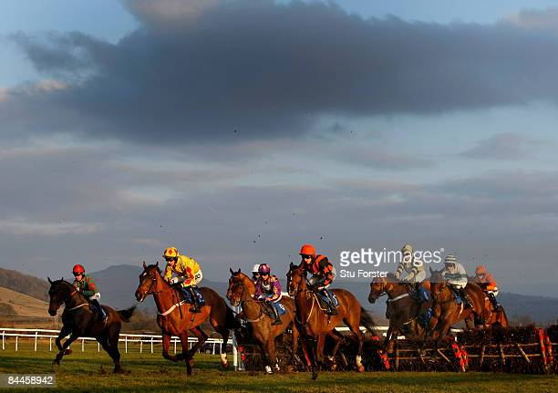 Runners make their way to the finishing line during the Church Stretton Handicap Hurdle Race at Ludlow on January 26 2009 in Ludlow England