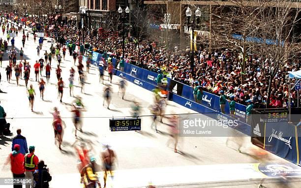 Runners near the finish line on Boylston Street during the 120th Boston Marathon on April 18 2016 in Boston Massachusetts
