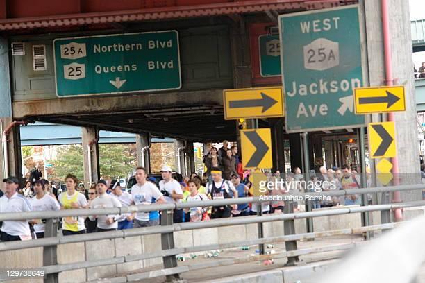 Runners of the 2009 NYC Marathon crossing the Queensboro Bridge from Queens into Manhattan.