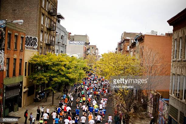 Runners of the 40th ING New York City Marathon passes through the Williamsburg section of the borough of Brooklyn on November 1 2009 in New York City...