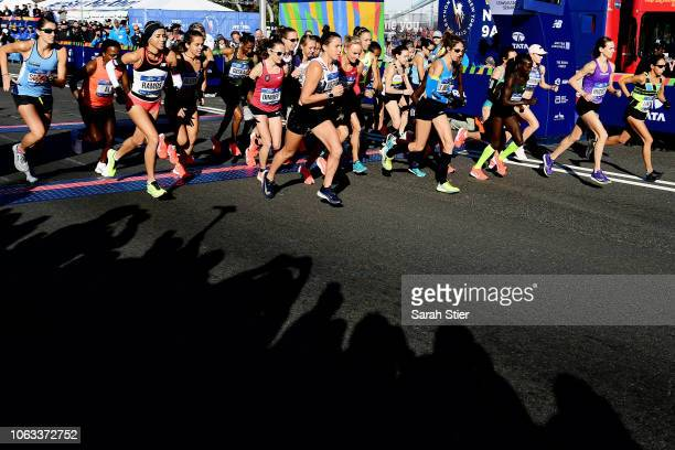 Runners of the Professional Women's Division begin the race during the 2018 TCS New York City Marathon on November 4 2018 in New York City
