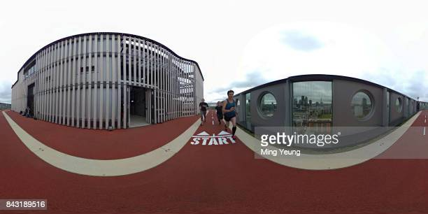 Runners on the running track of London's highest running track on the roof of the White Collar Factory by Old Street on September 5 2017 in London...