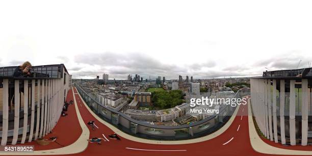 Runners on the running track of London's highest running track on the roof of the White Collar Factory by Old Street on September 5, 2017 in London,...