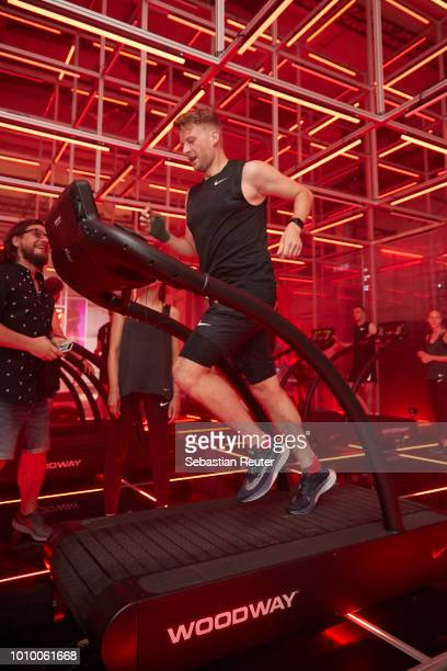 Runners on treadmills are seen at the Nike Fast Lab Berlin event on August 2 2018 in Berlin Germany