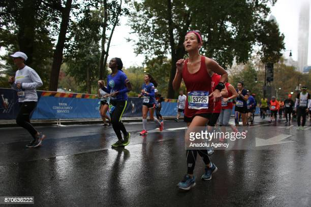 Runners participate in New York City Marathon in Manhattan borough of New York United States on November 5 2017