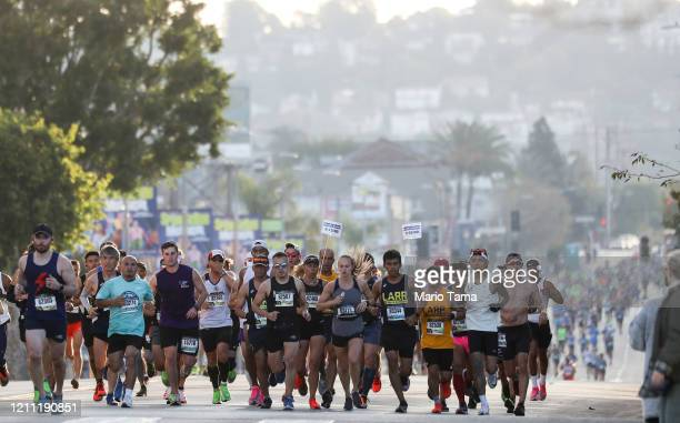 Runners participate in the Los Angeles Marathon which was allowed to continue by health officials in spite of coronavirus COVID19 fears on March 8...