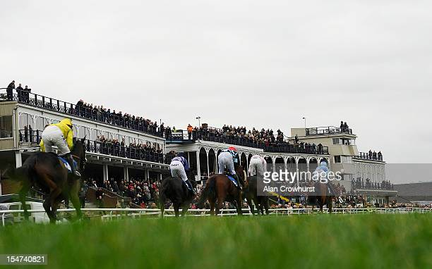 Runners pass the grandstands in The Racing Welfare Week Juvenile Selling Hurdle Race at Ludlow racecourse on October 25 2012 in Ludlow England